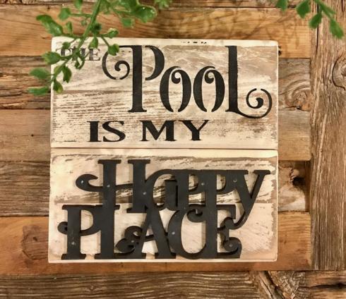 """$11.50 Wood Sign (Pool) 7"""" x 7"""""""