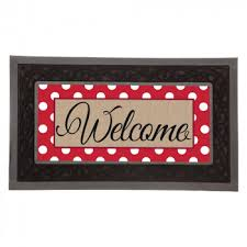 Sassafras Door Mat Insert (Red Welcome wPolka Dots collection with 1 products
