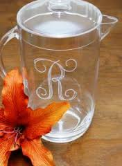 Tiger Lily   acrylic pitcher engraved $46.00