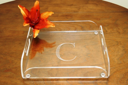 Tiger Lily   acrylic butler tray 12x12 engraved $75.00