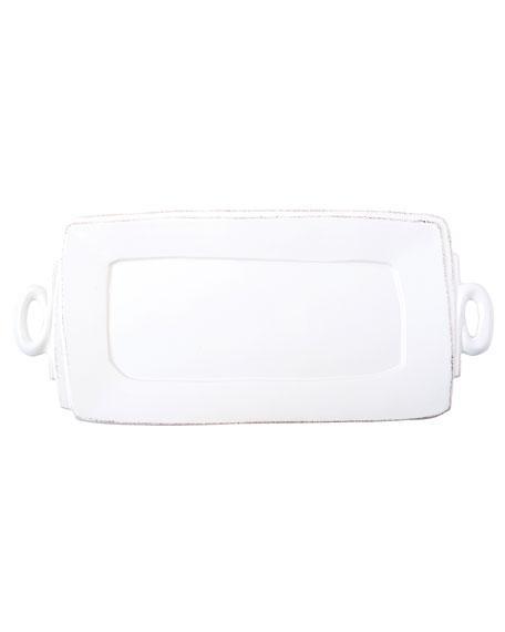Vietri Lastra - Handled Rectangle Platter (white)