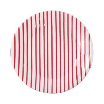Plum Southern Exclusives   Salad Plate - Red Stripe $40.00