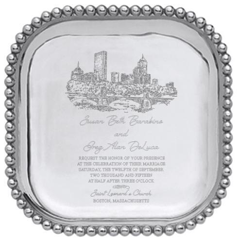 Mariposa Pearled Square Tray with Wedding Invitation Scan