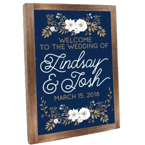 Personalized Floral Welcome Vintage Plank Framed - Navy