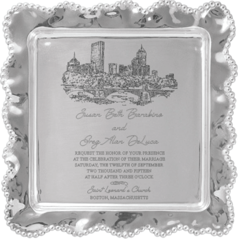 Mariposa Pearled Wavy Square Platter with Wedding Invitation Scan