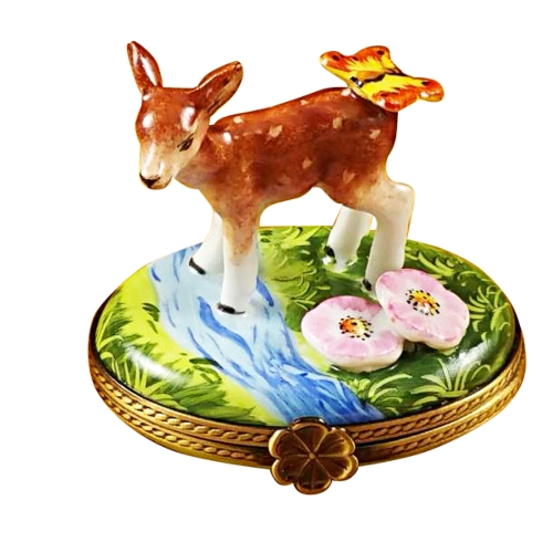 $289.00 Deer With Butterfly And Flowers