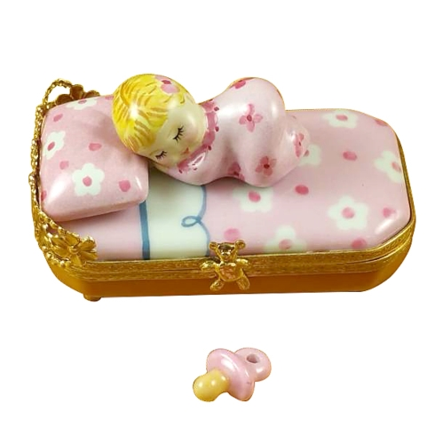 $299.00 BABY IN PINK BED WITH PACIFIER