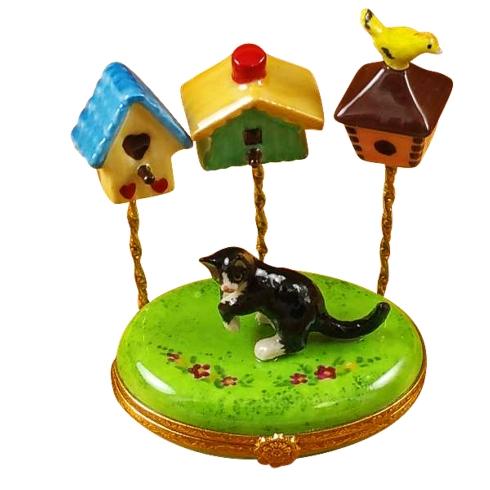 Cat W/Three Birdhouses image