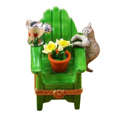 $259.00 Adirondack Chair W/Cat- Watering Can And Plant