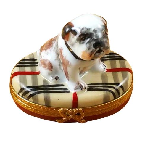 $259.00 Bulldog On Plaid Rug