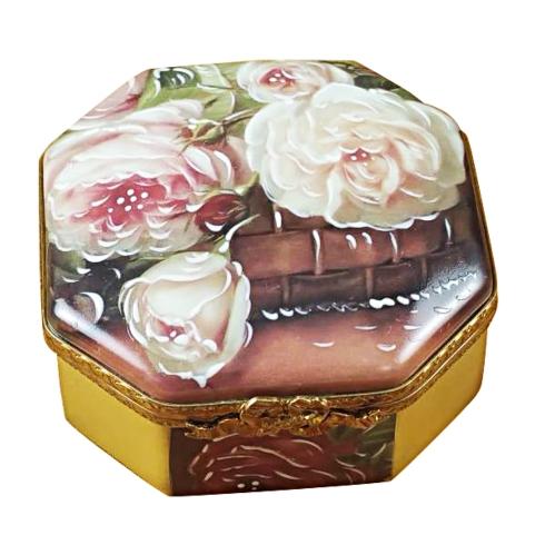 $399.00 Octagonal White Rose Box - Mother-Girl