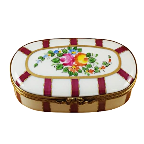 $119.00 Oval Burgundy Stripes With Flowers