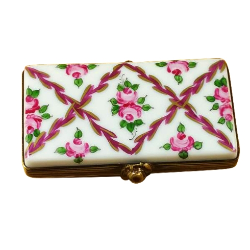 $149.00 Flat Rectangle With Burgundy Stripes And Flowers
