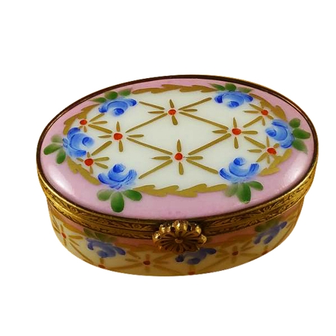 $149.00 PINK OVAL WITH BLUE FLOWERS