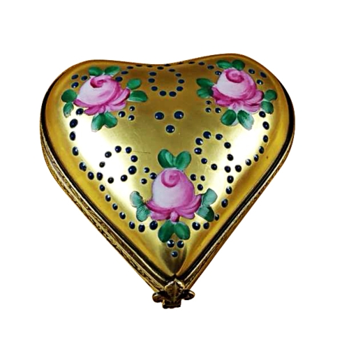 $199.00 Gold Heart W/Pink Roses