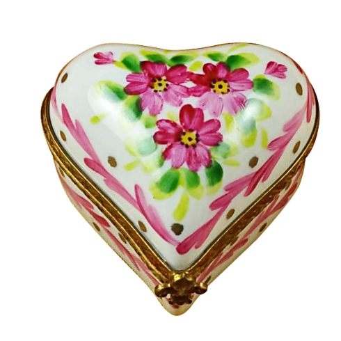 $179.00 Heart With Pink Trim & Flowers