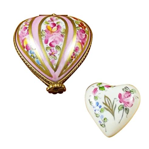Heart W/Pink Stripes & Flowers image
