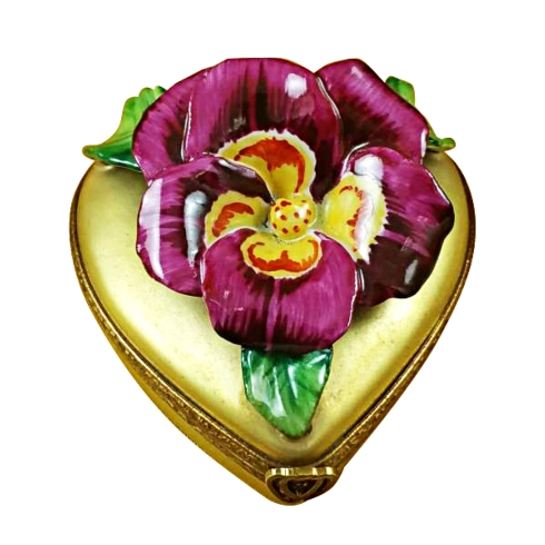 $329.00 Pansy On Gold Heart
