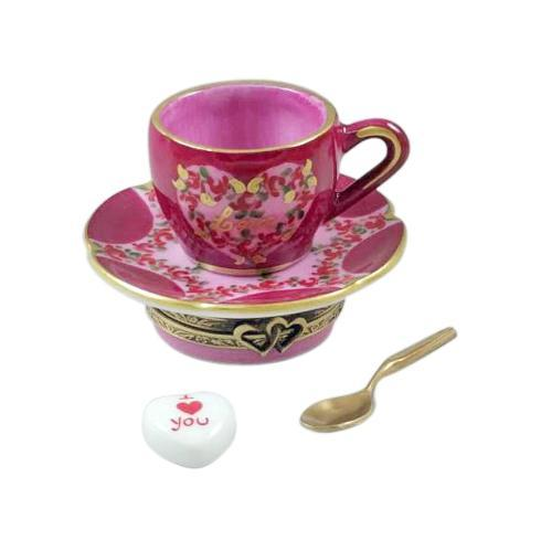 $299.00 Valentine\'s Love Tea Cup with Spoon, Heart & Sugar Cube