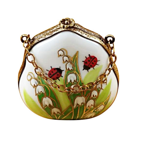 $199.00 Lily Of The Valley Purse With Ladybugs