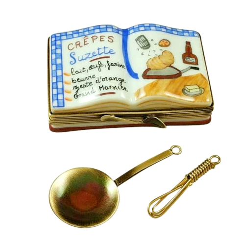 $299.00 CREPES SUZETTES COOKBOOK WITH WHISK AND PAN