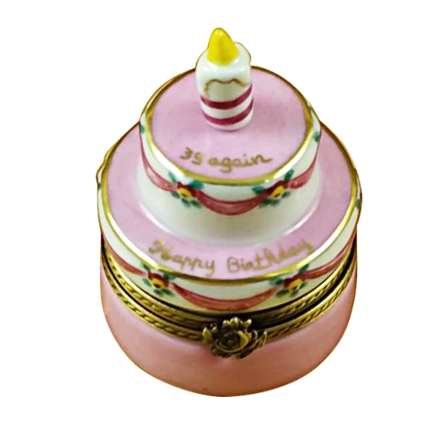 $199.00 Birthday Cake W/Pink Candle - \'39 Again\'