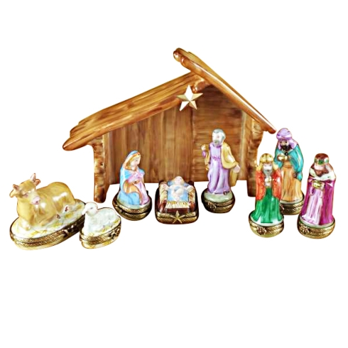 $1,899.00 EIGHT PIECE MINI HINGED NATIVITY WITH PORCELAIN STABLE