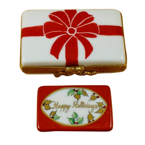 Gift Box With Red Bow - Happy Holidays