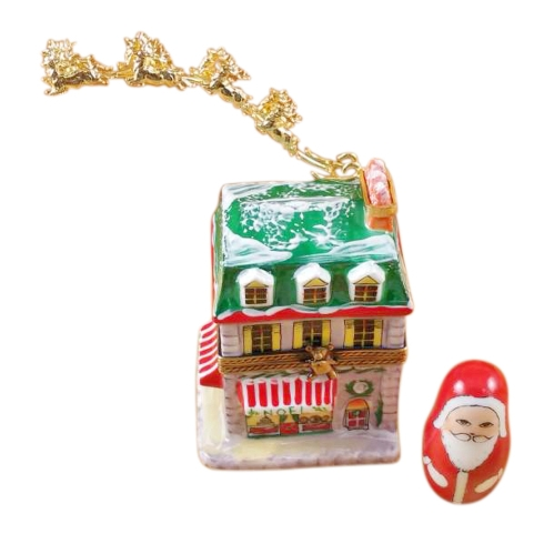 $429.00 House With Santa And Brass Reindeer