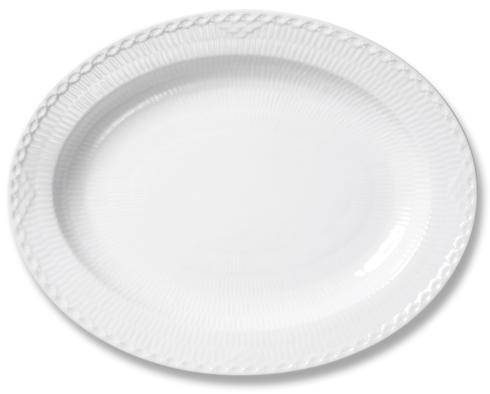 Royal Copenhagen  White Fluted Half Lace Oval Platter Large $175.00