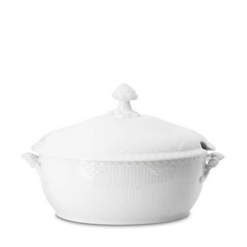 Royal Copenhagen  White Fluted Half Lace Covered Tureen $455.00