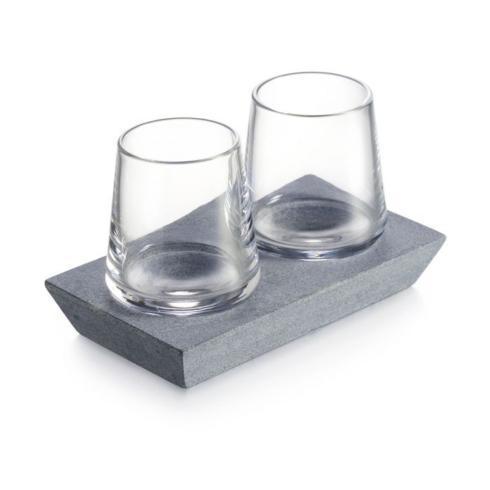 $150.00 Alpine Whiskey Glass Set of 2 with Soapstone Base
