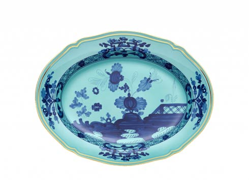 Ginori 1735 Oriente Italiano Iris Oval Flat Platter $350.00