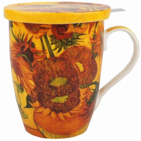 $21.99 Van Gogh Sunflowers Tea Mug with Infuser & Lid
