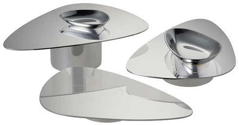 $610.00 Stainless Steel Set of 3 Pedestal Servers