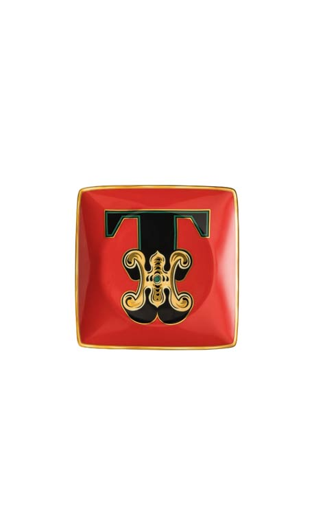 Versace by Rosenthal  Versace Christmas Holiday Alphabet T - Canape Dish 4 3/4 in Square $65.00