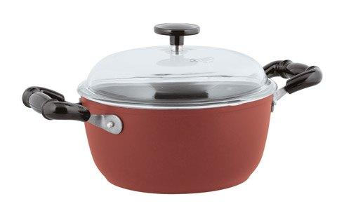 Nonstick Sauce Pot, 2 handles with Pyrex Lid, Red image