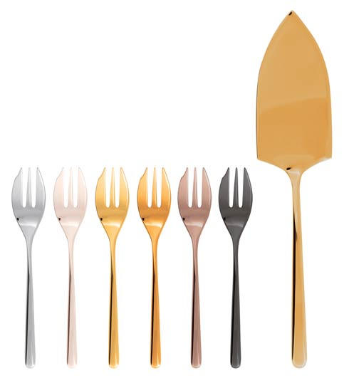 $195.00 Mix & Play/Linear - Cake Set 6 Forks And Server PVD Mix