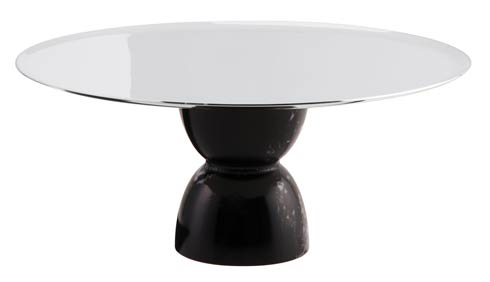 $275.00 Footed Stand Slvrpltd/Black Marble Resin on 18/10 s/s 8 1/2 in H 3 3/4 in