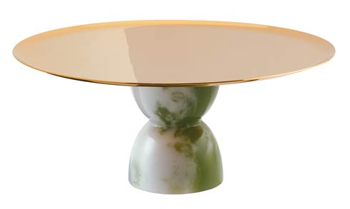 $225.00 Footed Stand 8 1/2 in H 3 3/4 PVD Gold/Jade Resin