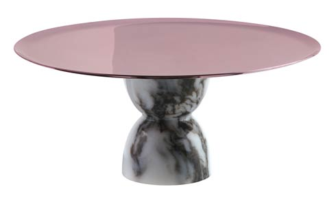 $225.00 Footed Stand 8 1/2 in H 3 3/4 in PVD Parfait Amour/White Marble Resin