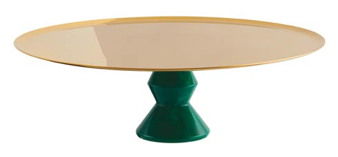 $385.00 Footed Stand 11 3/4 in H 3 3/4 in PVD Gold/Green Resin