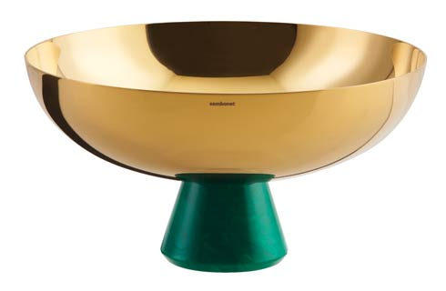 Footed Cup 8 in H 4 1/4 in PVD Gold/Green Resin