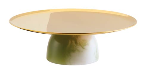 Footed Stand 6 1/4 in H 2 in PVD Gold/Jade Resin image