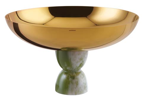 $355.00 Footed Cup 10 1/4 in H 6 in PVD Gold/Jade Resin