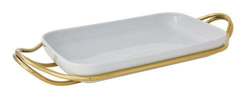 Living Serveware NEW LIVING Mirror Gold + White Dish collection
