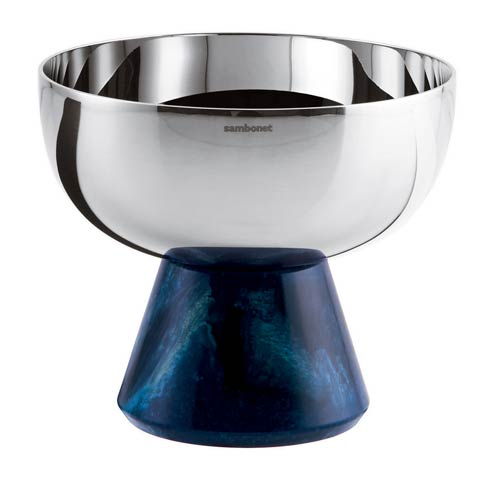 Footed Cup S/steel/Blue Resin 4 1/4 in H 3 3/4 in