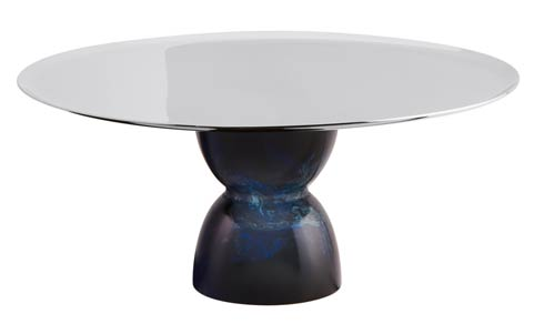 $295.00 Footed Stand S/steel/Blue Resin 8 3/4 in H 3 3/4 in