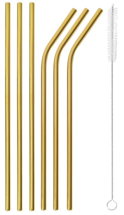 $30.00 Set of 6 Gold Straws (with brush) - s/s