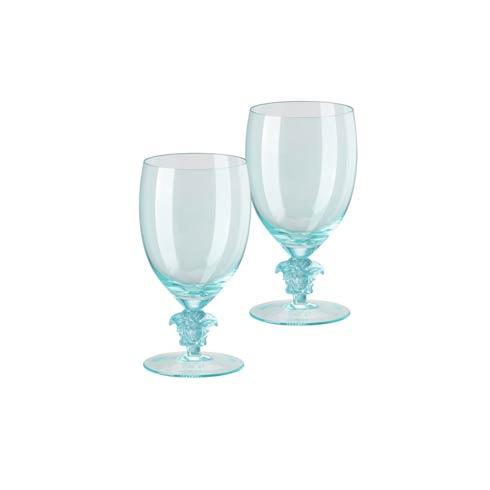 $420.00 2 Water Goblet Set of Two 11 1/2 in 16 oz Teal Short Stem